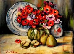 Picturi cu flori Natura statica cu anemone si fructe