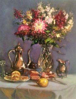 Picturi cu flori Natura statica cu flori si vase de argint