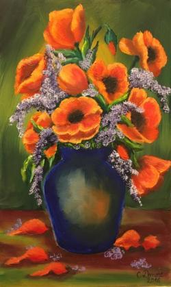 Picturi cu flori Maci in vas albastru