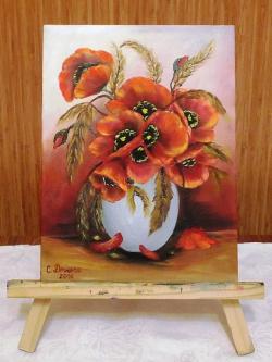 Picturi cu flori Maci in vaza 002