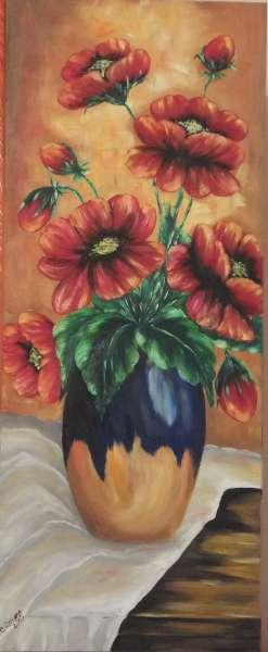 Picturi cu flori Maci in vaza de lut