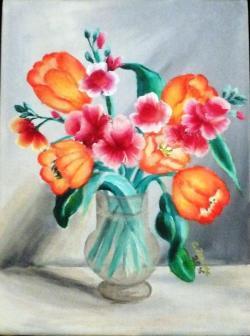 Picturi cu flori Primavara in glastra