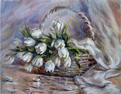 Picturi cu flori Lalele albe