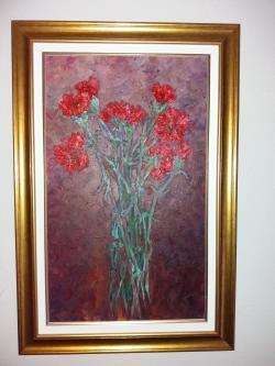 Picturi cu flori Garoafe rosiii