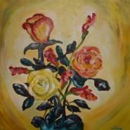 Picturi cu flori Vaza cu flori primite la absolvire