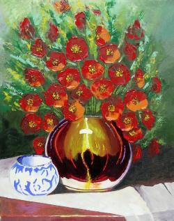 Picturi cu flori Vas de cupru cu maci