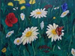 Picturi cu flori Flori in gradina