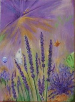 Picturi cu flori Delectare in culori de lavanda