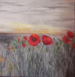 Picturi cu flori Maci rosii pe camp