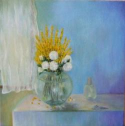 Picturi cu flori Vas cu forsythia si hydrangea