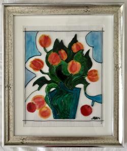 Picturi cu flori O vaza cu lalele, fructe si cer senin