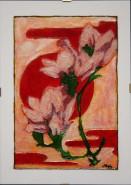 Picturi cu flori Magnolii la apus de soare