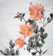 Picturi cu flori Trandafiri japonezi ,portocalii