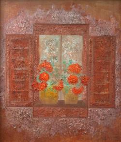 Picturi cu flori Fereastra .