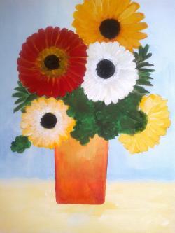 Picturi cu flori 5 flori vesele