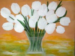 Picturi cu flori Buchet de Lalele Albe