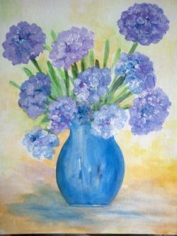 Picturi cu flori Cateva flori albastre