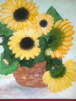 Picturi cu flori Cosulet Cu Floarea Soarelui