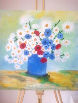 Picturi cu flori Flori de Camp in Vas Albastru