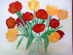 Picturi cu flori Lalele In Vaza de Sticla