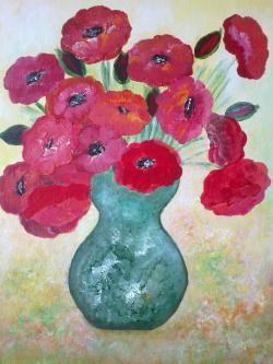 Picturi cu flori Maci Rosii Infloriti