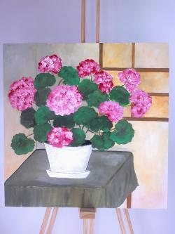 Picturi cu flori Muscate la Fereastra
