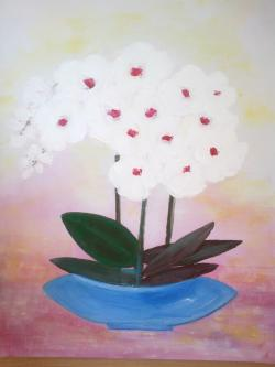 Picturi cu flori Orhidee albe in vas albastru