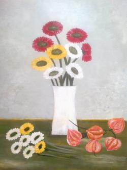 Picturi cu flori Physalis si cativa nasturei