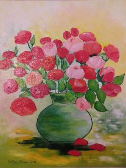 Picturi cu flori Trandafiri de gradina in vas de lut