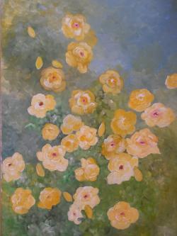 Picturi cu flori Trandafiri galbeni agatatori