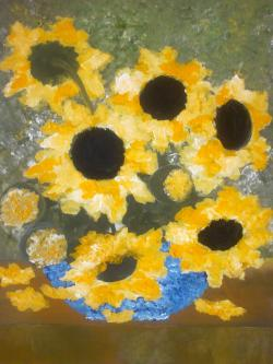 Picturi cu flori Vas albastru cu floarea soarelui