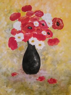 Picturi cu flori Vas Ceramic Negru cu Maci