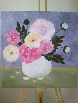 Picturi cu flori Vas Alb cu Bujori