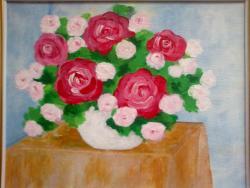Picturi cu flori Vaza Alba Cu Trandafiri