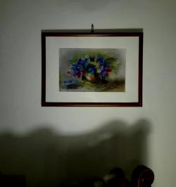 Picturi cu flori Flori albastre pastel