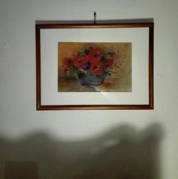 Picturi cu flori Flori rosii pastel
