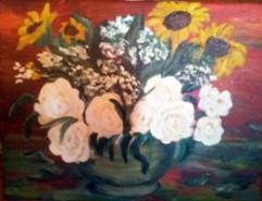 Picturi cu flori Cos cu bujori