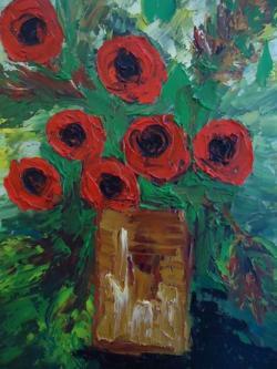 Picturi cu flori rosas cod 0011