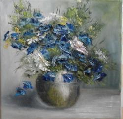 Picturi cu flori Albastrele si flori albe
