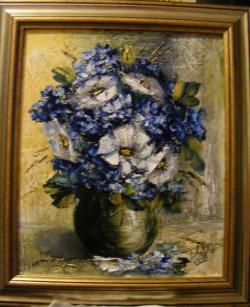 Picturi cu flori Amintiri in alb si albastru