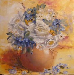 Picturi cu flori Buchet in alb si albastru
