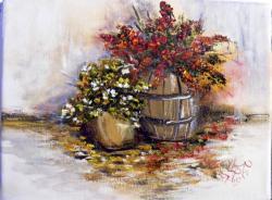 Picturi cu flori Butoiul cu flori