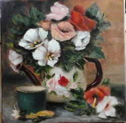 Picturi cu flori Ceainic cu flori si cana verde