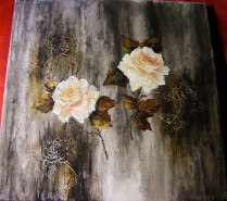 Picturi cu flori Compozitie abstracta cu roze