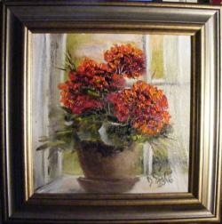 Picturi cu flori Fereastra cu muscata