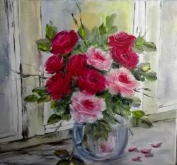 Picturi cu flori Fereastra cu trandafiri