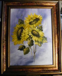 Picturi cu flori Floarea soarelui pe fond albastru