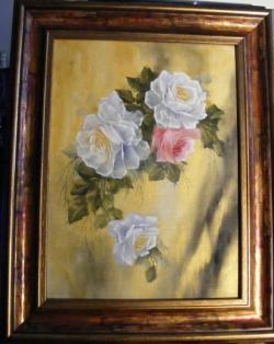 Picturi cu flori Floral alb si roz