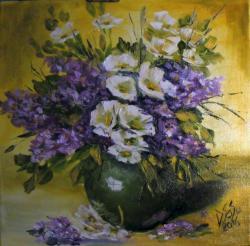 Picturi cu flori Flori albe in vas de jad