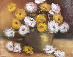 Picturi cu flori Flori de toamna albe si galbene